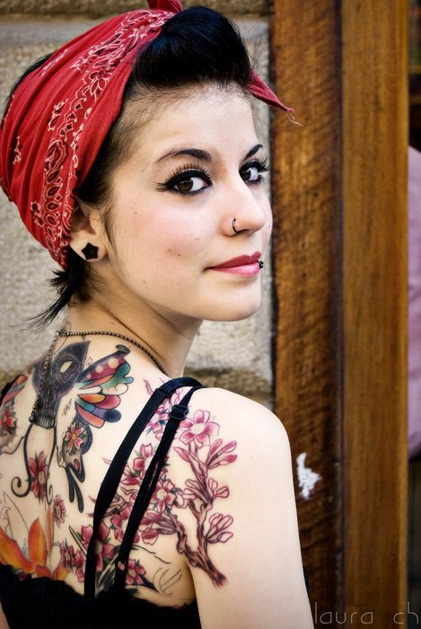 art, bandanna, black hair, dark hair, girl, gorgeous, lovely, model, nose piercing, nose ring, nostril, old school, photography, piercing, piercings, pin up, pretty, smile, style, tattoo, tattoo body, vintage