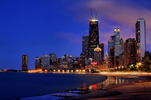 art, beach, blue, chicago, city, lights, night, sea