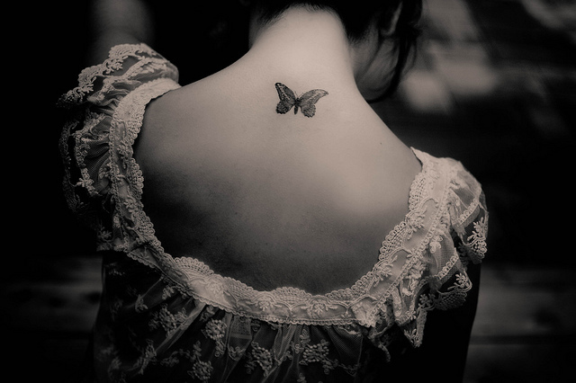 art, beautiful, black and white, butterfly, girl