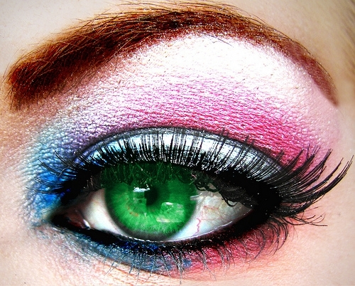 art, beautiful, blue, bright, colorful, colors, colours, eye, eyelashes, eyes, eyeshadow, fashion, girl, green, make up, makeup, photography, pink, pretty, purple, red, silver