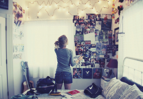 art, bed, black, blonde, blue, girl, hair, mysterious, photo, photography, photos, room, shorts, summer, thinking, top, white