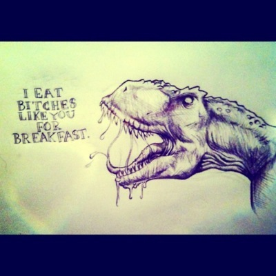 art, bitch, breakfast, dinosaur, drawing
