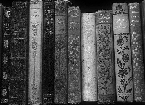 art, black and white, books, pretty