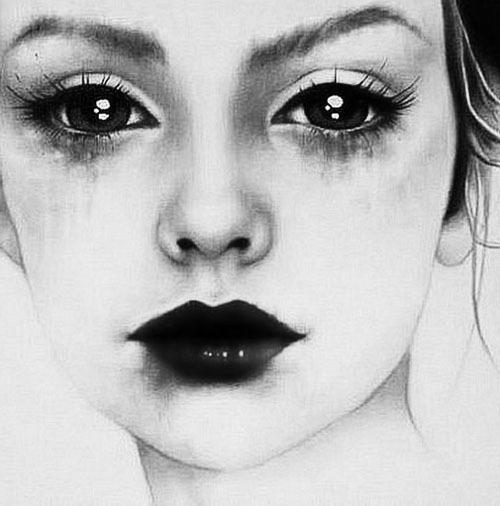 art, black, cry, dark, eyes, girl, sad, white