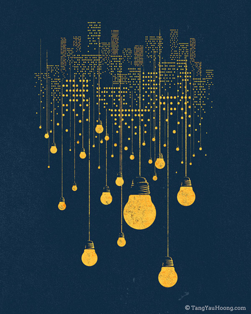 art, blue, city, country, creative, desing, draw, ilustrator, light, sky, yellow