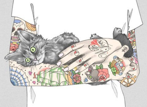 art, boy, cat, colorful, guy, kitty, tattoo