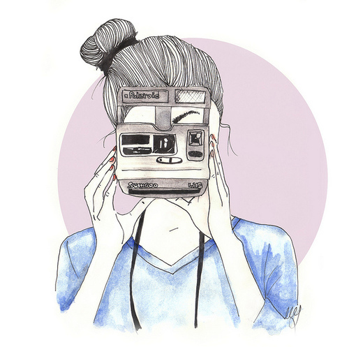 art, camera, cute, drawing, girl, pretty, vintage