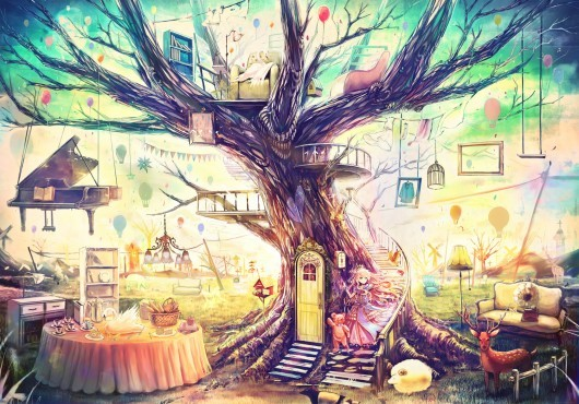 art, creative, magic, piano, tree
