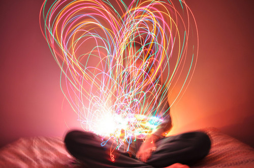 art, cute, girl, heart, lights, love, lovely