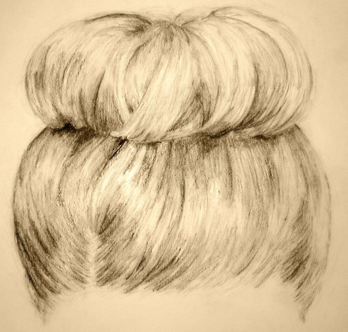 art, bun, drawing, hair, hairstyle, pencil drawing