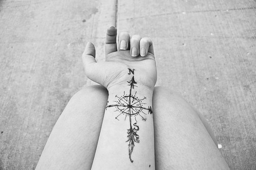 artistic, compass, feather, nautical, tattoo - image ...