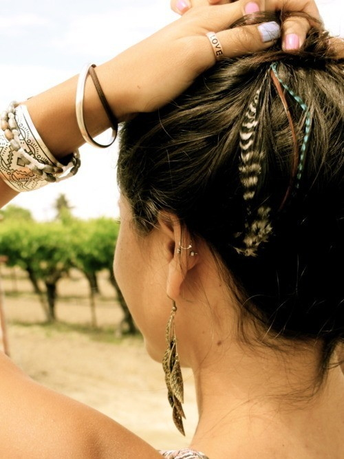 artsy, boho, bracelet, earring, feather
