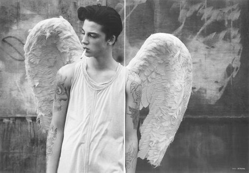 ash stymest, black and white, boy, cigarette, cute, model, tattoos, wings