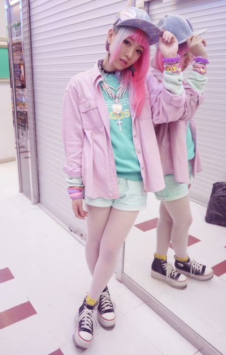 asian, blue, blue hair, chinese, converse, cute, fairy kei, fashion, girl, hair, hairinspo, hat, jacket, kawaii, lashes, makeup, pastel, pink, pink hair, shoes, streetstyle, style