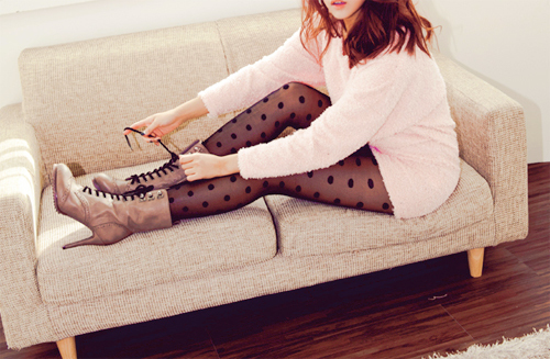 asian, boots, brown hair, couch, fashion, girl, high heels, kfashion, korean, photography, polka dots, stockings