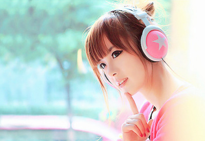 asian, cute, girl, headphones, kfashion