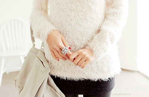 asian fashion, black and white, cozy, cute, fashion, fuzzy, fuzzy sweater, k fashion, knit sweater, sweater, white, white sweater