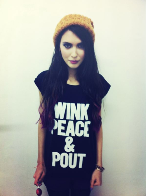 attractive, beautiful, fashion, girl, gorgeous, hair, hipster, indie, model, perfect, photography, pretty, skinny, vintage, wink peace and pout