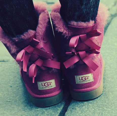 australia, boots, bow, cloth, clothes, clothing, design, dressing, fashion, female, fur, girl, jeans, legs, loop, pavement, pink, ribbon, shoes, ugg, warm, winter, woman