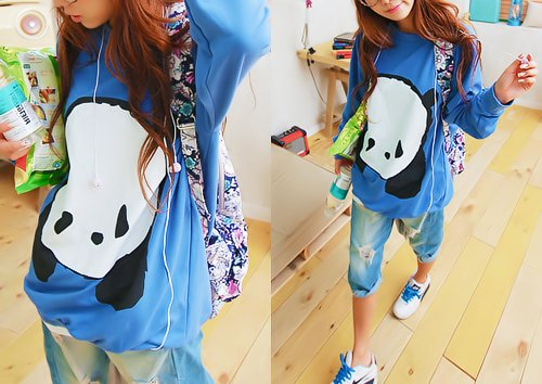 awesome, backpack, blue, colors, cute, denim, fashion, girl, jeans, kawaii, kfashion, korean, panda, photography, pretty, ripped, shirt, shoes, top