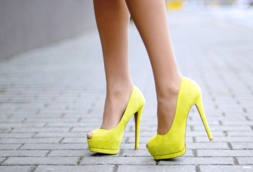 awesome, beautiful, beauty, fashion, girl, girly, heels, high heels, legs, neon, photo, platforms, pretty, pumps, shoes, street, yellow