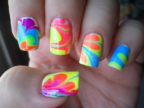 awesome, colourful, cool, funky, hands, nail polish, nails, style, tie dye