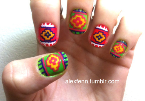 aztec, green, nail, nails, polish