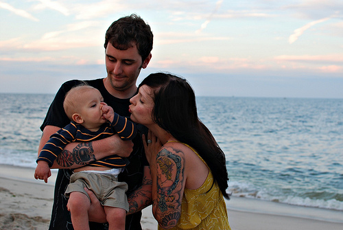 baby, beach, couple, family, fashion