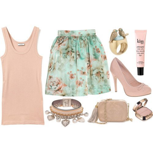 baby blue, baby pink, bag, blue, cute, fashion, make up, pink, skirt