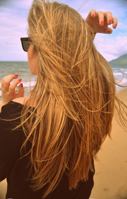 back, beach, beautiful, blonde, clouds
