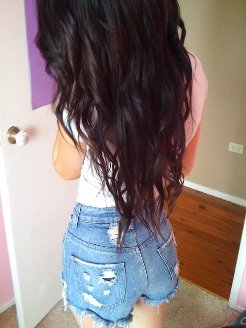 back, beautiful, beauty, black, black hair, curly, curly hair, fashion, girl, hair, long, long hair, perfect, photo, photography, pretty, shorts, skinny, waves