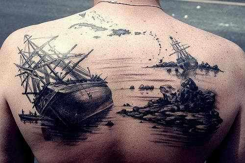 back, men, pirates, tattoo