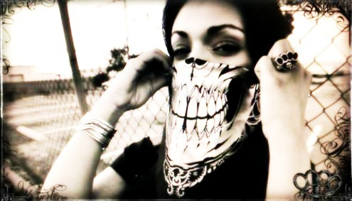 bad, black, black and white, brass knuckles, cute, gang, gangsta, ghetto, girl, hair, hood, makeup, photography, scary, skull, swag