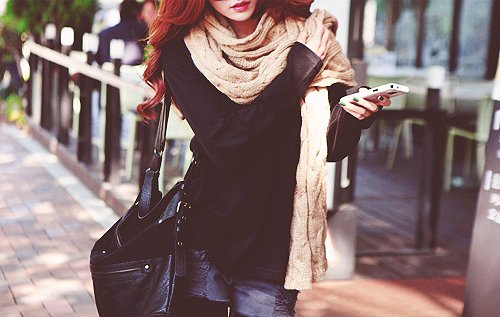 bag, beautiful, black, clothes, dark, fashion, ginger, hair, outfit, phone, photography, pretty, red, style