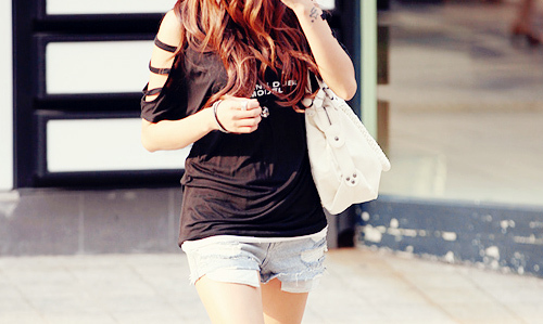 bag, beautiful, black, clothes, hair, outfit, photography, pretty, shorts, white