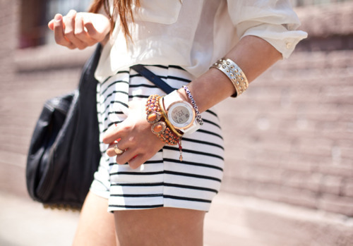 bag, beautiful, bracelet, fashion, girl, girly, stripy, wrist-watch