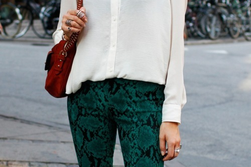 bag, beautiful, buttoned shirts, fashion, green, model, pretty, ring, street style, style, white