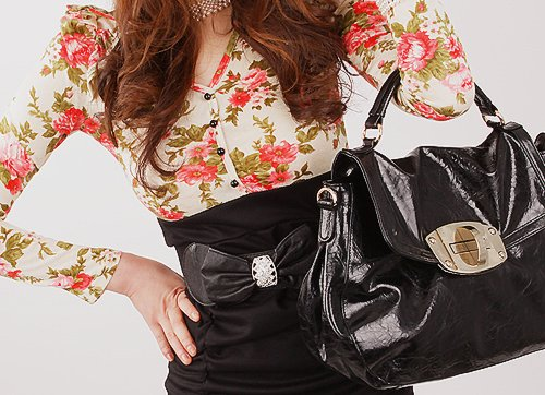 bag, beautiful, clothes, dark, floral, love, necklace, outfit, photography, pretty, ribbon, style