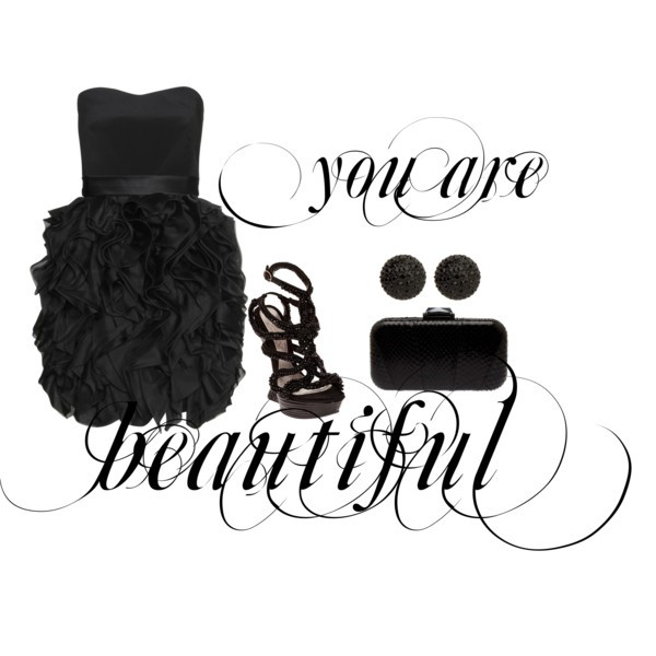 bag, beautiful, clothes, dress, earrings, fashion, high heels, polyvore, shoes, style