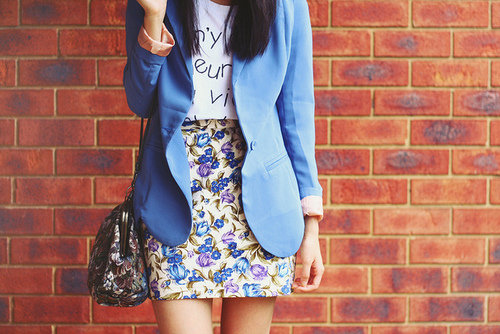 bag, beautiful, clothes, fashion, floral, outfit, skirt, style