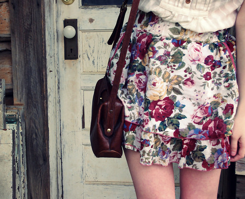 bag, beauty, cliche, cute, fashion, floral, flowers, skirt