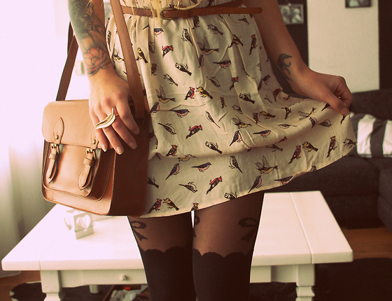 bag, birds, bows, brown, dress