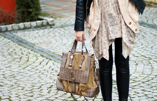 bag, black, black and white, cardigan, fashion, floral print, leather, motorcycle jacket, satchel, street style, white, zipper