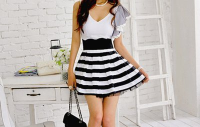 bag, black, cute, dress, fashion, hair, white