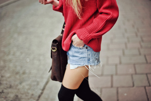 bag, black, fashion, girl, hair, jeans, knee socks, photography, shorts, sweater, sweatshirt