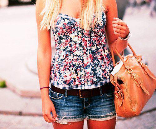 bag, blonde, colorful, flowers, shirt, shorts