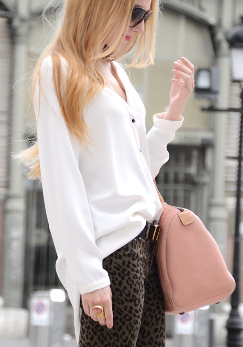 bag, blouse, bowling bag, fashion, leopard print, leopard print skinnies, model, pink, skinnies, street fashion, street style, white