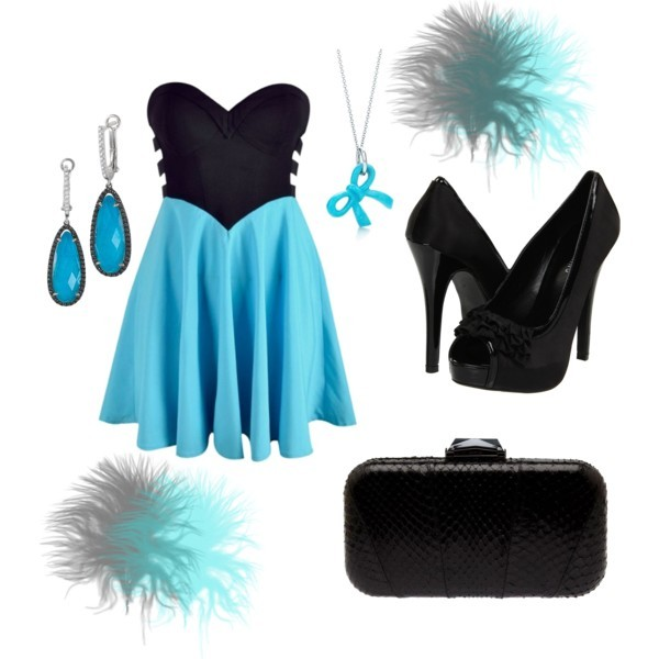 bag, blue, dress, earings, fashion