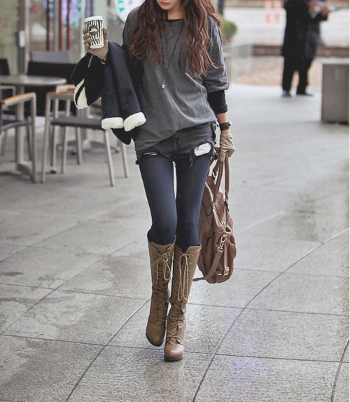 bag, boots, casual, coffee, fall, fashion, girl, gloves, leggings, outfit, shorts, style, winter