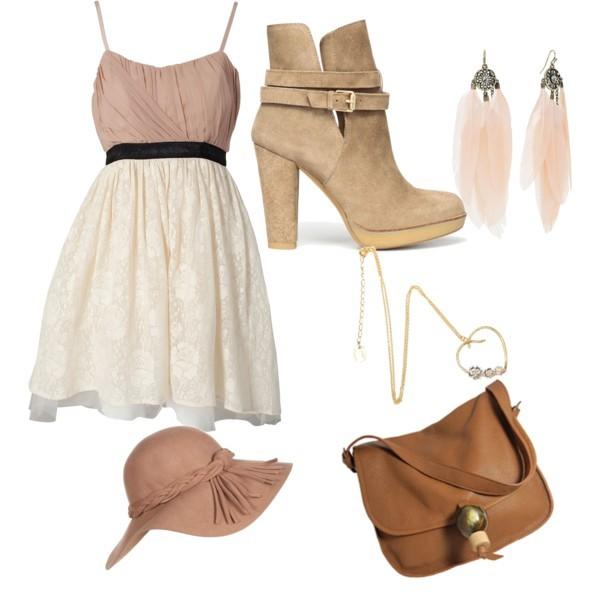 bag, boots, dress, earings, fashion